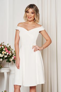 StarShinerS white occasional elegant cloche dress with a cleavage off shoulder flexible thin fabric/cloth Dress Outfits, Fashion Outfits, Baptism Dress, Dress Cuts, Flower Shape, Special Occasion Dresses, Size Clothing, New Dress, Shopping