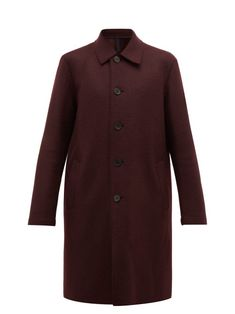 HARRIS WHARF LONDON HARRIS WHARF LONDON - SINGLE BREASTED PRESSED WOOL OVERCOAT - MENS - BURGUNDY. #harriswharflondon #cloth