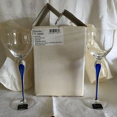 """Two Mikasa Prima Blue Crystal Goblets 9 5/8"""" Original Tags & Box, Made in Poland #Mikasa #WineGoblets"""
