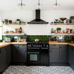 Kitchen-makeover-dark-grey-units-palm-print-wallpaper-green-accents