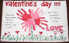 valentine crafts, handprint placemat, grandparent gifts, holiday ideas, school crafts