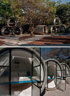 """""""Boasting not much more than a queen-sized bed, some under-bed storage, privacy curtains and ceiling lights, these Tubohotel pods are … cozy, to say the least, but the focus is not supposed to be on sleeping through your stay anyway."""""""