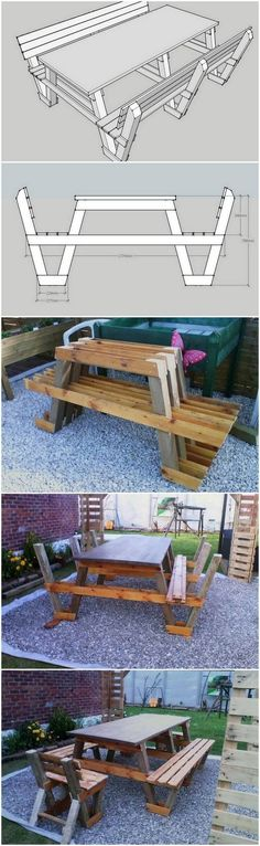 DIY Wood Pallet Table and Benches Step By Step Plan