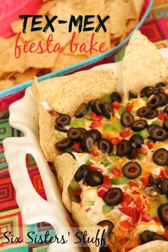 Tex-Mex Fiesta Bake Recipe - Six Sisters Stuff Recipes Appetizers And Snacks, Yummy Appetizers, Snack Recipes, Yummy Recipes, Appetizer Dips, Potato Recipes, Mexican Dishes, Mexican Food Recipes, Good Food