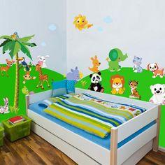 Αυτοκόλλητα τοίχου Ζωάκια της ξηράς με δέντρα ήλιο, σύννεφα Storage Chest, Toddler Bed, Kids Rugs, Furniture, Home Decor, Child Bed, Decoration Home, Kid Friendly Rugs, Room Decor