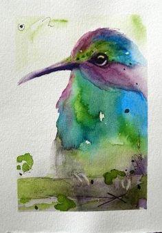 Hummingbird Original Watercolor Painting Bird Art by Auntie Cosmos