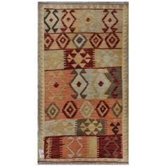 Herat Oriental Afghan Hand-woven Wool Kilim (2'10 x 4'11) (Afghan Hand-woven Kilim Area Rug), Brown (Natural Fiber, Geometric)