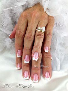 Sculpted pink and white gel enhancement. #pinkandwhites #frenchnails #gelnails #nailart #handpaintednails #naildesign #nails #lisakorallus #liquidglamour #nailpictures