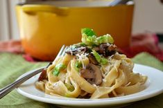 fettucini with mushrooms and brussels sprouts
