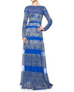 NWT Tadashi Shoji Long Sleeve Banded Lace Gown