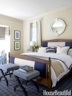 Bold blue-and-white stripe on Restoration Hardware's Directoire bed. Design: Stephen Shubel.