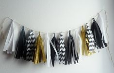 black white gold wedding tassel garland by aprincesspractically