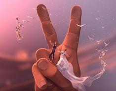 A native of Toulon, the French illustrator Cyril Rolando reveals a fantasy world inspired by Burton and Miyazaki. Cyril Rolando, Couples Anime, Cute Couple Art, Poster S, Love Illustration, Hayao Miyazaki, Jolie Photo, Surreal Art, Sword Art Online