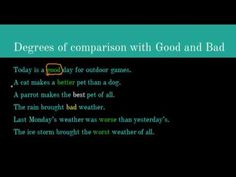 Comparative and Superlative Degrees of Good and Bad