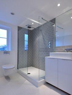 Gray And White Bathroom Design Ideas, Pictures, Remodel and Decor Loft Bathroom, Grey Bathrooms, Bathroom Layout, Bathroom Gray, Metro Tiles Bathroom, Bathroom Storage, Gray And White Bathroom Ideas, Bathrooms Online, Bathroom Tubs