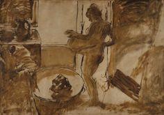 Edgar Degas, 'Nude Woman Drying Herself', watercolor on paper