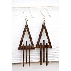 Triangle Laser Cut Wenge Wood Earrings by DesignsByAntonia on Etsy https://www.etsy.com/listing/281449386/triangle-laser-cut-wenge-wood-earrings
