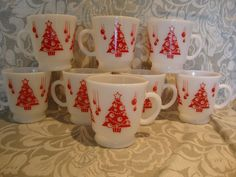 Anchor Hocking Christmas cups mugs red tree by midcenturymodernme, $40.00
