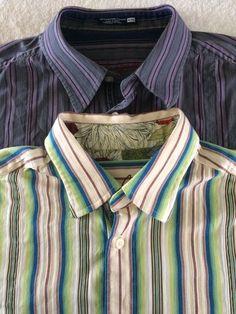 Lot of 2 Robert Graham Sz XL Striped Shirts Contrasting Flip Cuff Mens   eBay