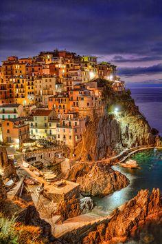 Manarola by night, commune of       Riomaggiore, Cinque Terre, province of La Spezia, region of Liguria, Italy