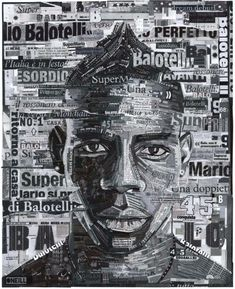 A commission to create an instantly recognisable hand made collage of Italian striker Mario Balotelli using his Italian and British press cuttings. The image Collage Portrait, Collage Artists, Portraits, Text Portrait, Face Collage, Mix Media, Gcse Art Sketchbook, Sketchbooks, Political Art
