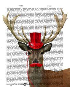 #Cerf & chapeau rouge