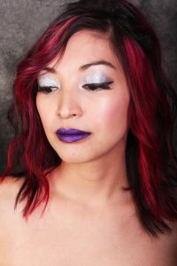 A glittery purple lipstick look - purple lipstick with loose shimmer powder, glittery silver eyeshadow