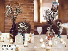 Mill Top Wedding, Indianapolis Wedding Photographer, urban wedding, beer themed wedding, brewery wedding, postcards as wedding centerpieces, neutral wedding colors