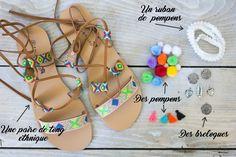 #DIY à pompons de @CaramelManon pour personnaliser vos sandales d'été ! Ici à base d'une paire de sandales BABOU à 12€.
