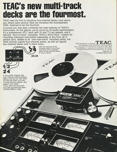 1972 ad for  the Teac 3340 reel to reel tape recorder.