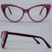 CRYSTAL Cat Eye Glasses-Fuchsia on Brown Frame by Divalicious Jewelry
