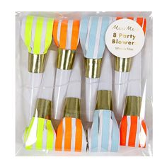 Neon Party Blowers | Meri Meri New Season Partyware UK