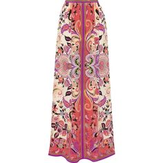 Etro - Printed Silk-georgette Maxi Skirt (7.308.315 IDR) ❤ liked on Polyvore featuring skirts, purple, rainbow skirt, red skirt, long red skirt, bohemian skirts and patterned maxi skirt