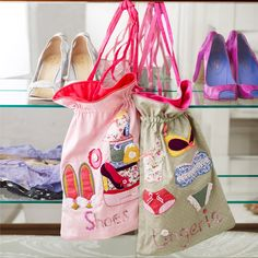Buttongirl Embroidered Shoes Bag