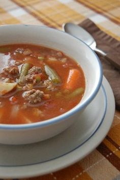 Farmhouse Hamburger Soup ~ a somewhat quicker veggie beef soup using ground meat vs stew meat. Half the crockpot cook time!