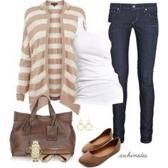 """Polyvore for Women Over 50   Casual In My Striped Cardi"""" by archimedes16 on Polyvore"""