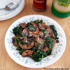 Mushrooms and Spinach with Parmesan and Paprika - Great side dish for just about any meal!