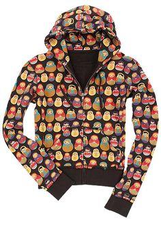 Matryoshka Russian Doll Zip-up Hoodie Jacket
