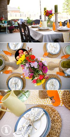 Pretty fall tablescapeby @thehandmadehome using Premier Prints outdoor fabric from OnlineFabricStore for table runner