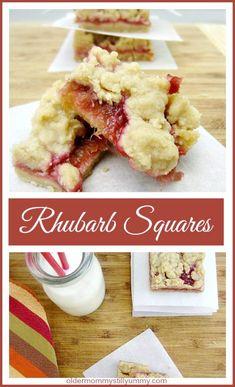 Easy to Make Rhubarb Squares ~ Older Mommy Still Yummy Rhubarb Desserts, Rhubarb Recipes, Just Desserts, Candy Recipes, Cookie Recipes, Sweet Recipes, Yummy Recipes, Rhubarb Squares, Rhubarb Crumble