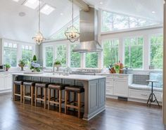 Sherwin Williams Alabaster. Sherwin Williams Alabaster. Placing the kitchen where used to be a screened-in porch allowed the space to have tall, vaulted ceilings and lots of windows. The perimeter cabinets are painted in Sherwin Williams Alabaster. #SherwinWilliamsAlabaster Outrageous Interiors