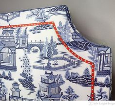 Blue and white upholstery in a chinoiserie pattern - that red piping makes the cut for our red white and blue porcelain inspiration Willow Pattern, Decorative Tape, Chinoiserie Chic, Furniture Upholstery, Furniture Design, Upholstery Tacks, Red Accents, Fabric Wallpaper, White Decor