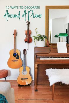 The piano is often the odd piece of furniture in the room that nobody knows how to decorate around. Well we've got 10 amazing examples of spaces that have worked it perfectly into their decor and even made it a focal point! Home Music Rooms, Music Studio Room, Piano Room Decor, Music Wall Decor, Piano Living Rooms, Music Corner, Piano Lamps, Front Rooms, Room Inspiration