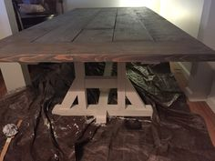 Painting porch farm table...