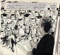 """A panel from Drucker's """"Patton"""" Mort Drucker is the genius caricaturist who was a centerpiece of MAD magazine for decades. His ability to. Jack Davis, Will Eisner, Mad Magazine, Celebrity Caricatures, American Comics, Feature Film, Illustration Art, Images, Cartoon"""