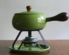 Gorgeous vintage avocado green fondue pot with warmer and tray