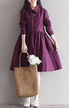 Women loose fitting over size pocket dress tunic fashion long sleeve fashion #Unbranded #dress #Casual