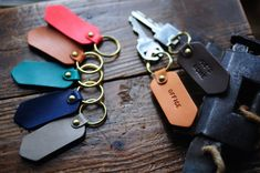 Artemis Leatherware Handmade Leather Keychain - Personalized Custom - Hand Stamped Personalized Keychain