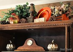 Decorating an entertainment center for Fall