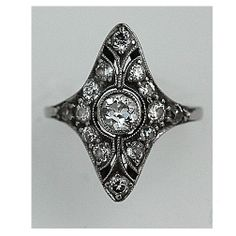 Edwardian 14 Kt White Gold Old European Cut Diamond Engagement Ring Circa Early 1900's